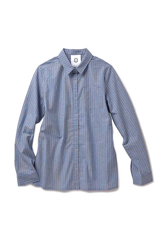 WEEKEND PEOPLE 青空に映えるストライプシャツ(ダークブルー)