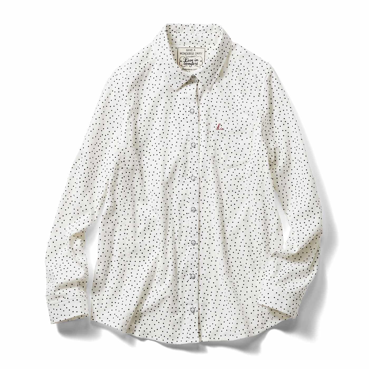リブ イン コンフォート 重ね着してももたつかない! ストレッチガーゼ×カットソーの伸びシャツ〈ホワイトドット〉