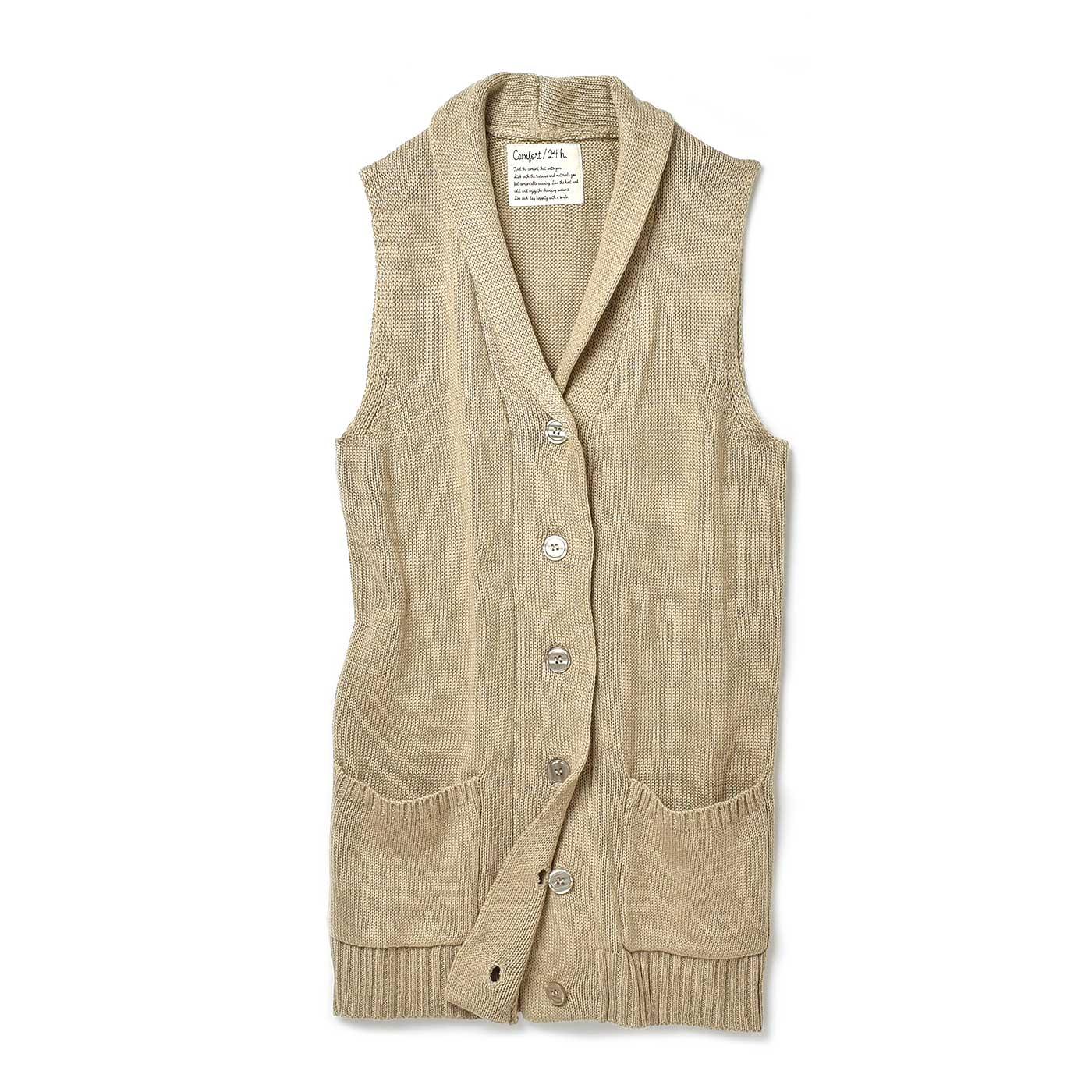 冷えを感じやすい首もとをカバーして小顔に見せる、衿付きデザイン。重ね着もすっきりな広めのアームホール。すそまわりはメリハリのあるリブ遣いで、印象すっきり!使い勝手のよいポケット付き。