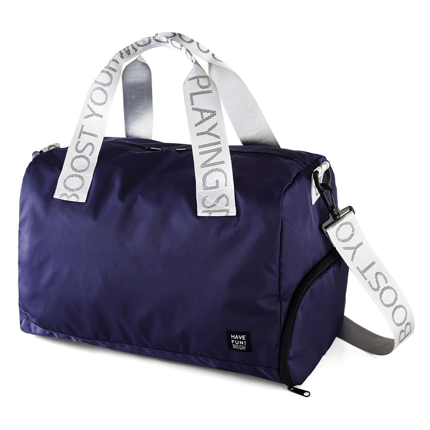 サイドにシューズポケット付き! 大きめ荷物もスマートにまとまる 大人のボストンバッグ