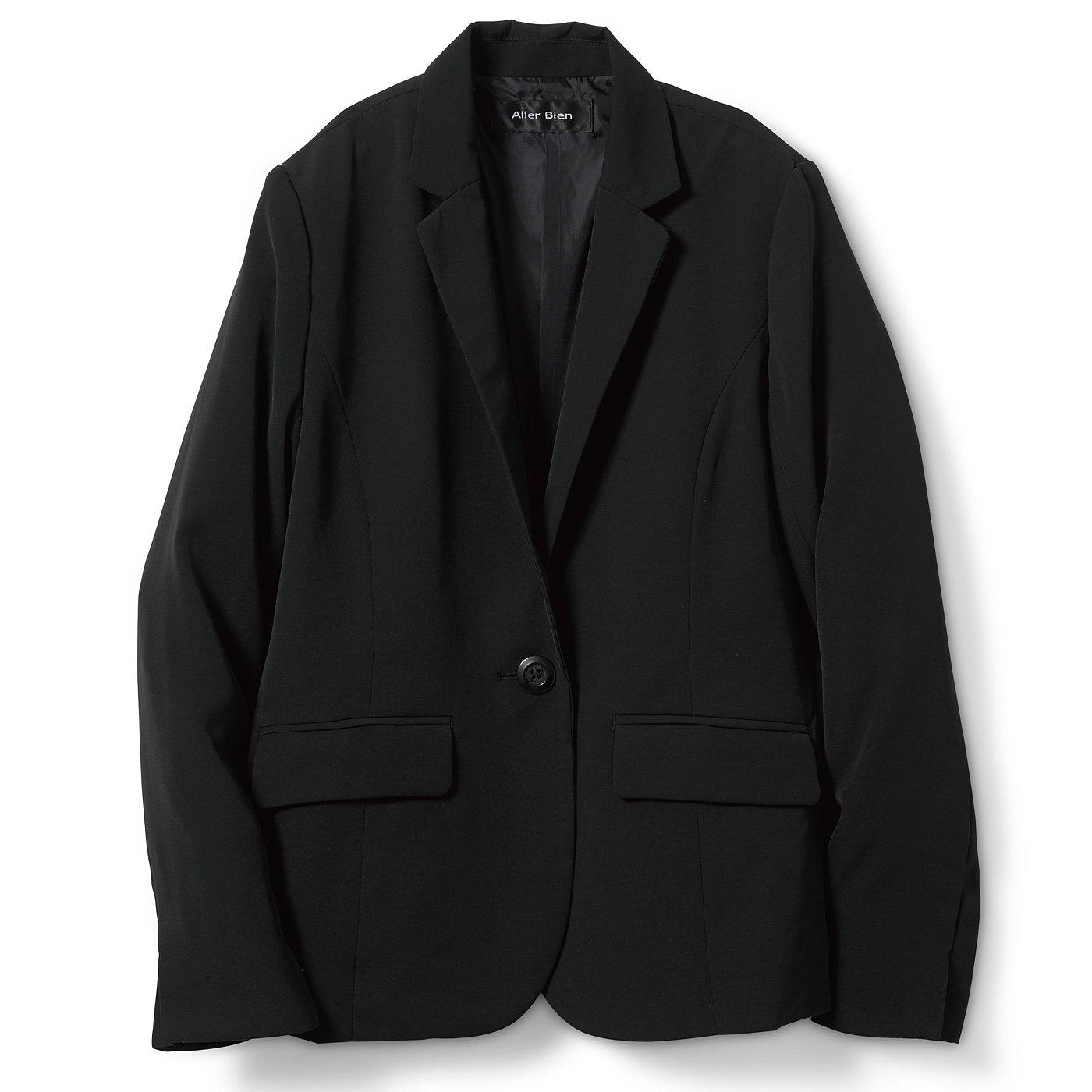 DRECO by IEDIT バイヤーズセレクト ツイルバックサテンのとろみテーラードジャケット〈ブラック〉
