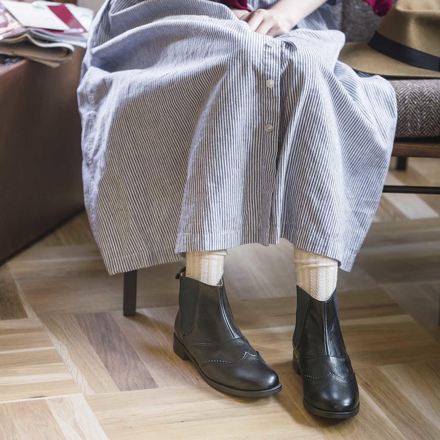 長田靴職人の本革仕立て 凛々しいサイドゴア レザーブーツ〈ブラック〉[本革 ブーツ:日本製]