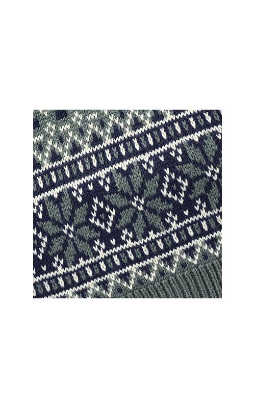 ジャカード編みの大きめ模様が気分を盛り上げるね。