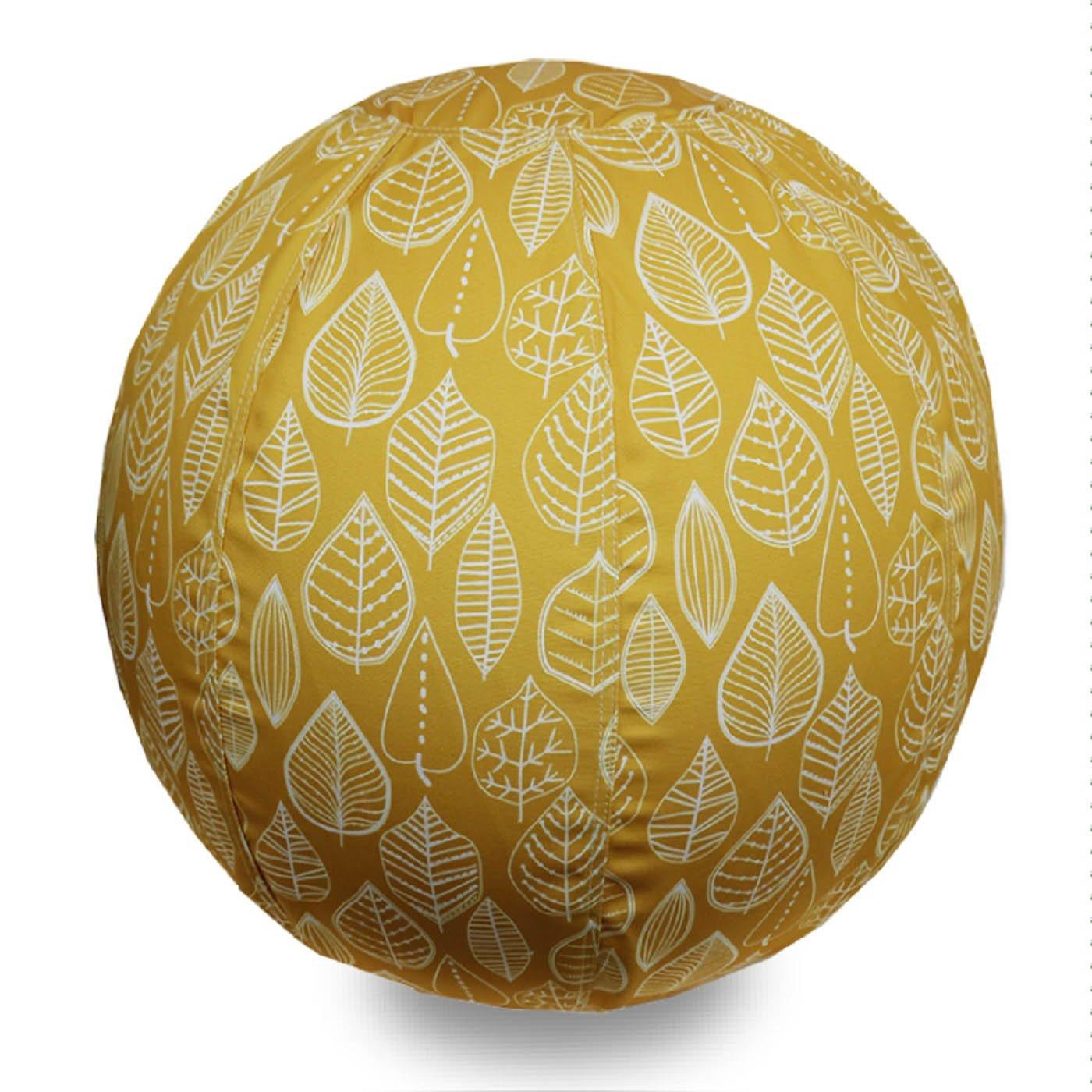 北欧をイメージした 部屋を彩るバランスボール〈黄色の葉っぱ/55cm〉