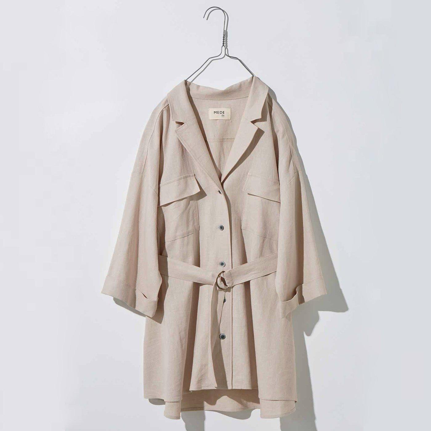 MEDE19F リネン混ベルテッドジャケットシャツ〈ライトベージュ〉
