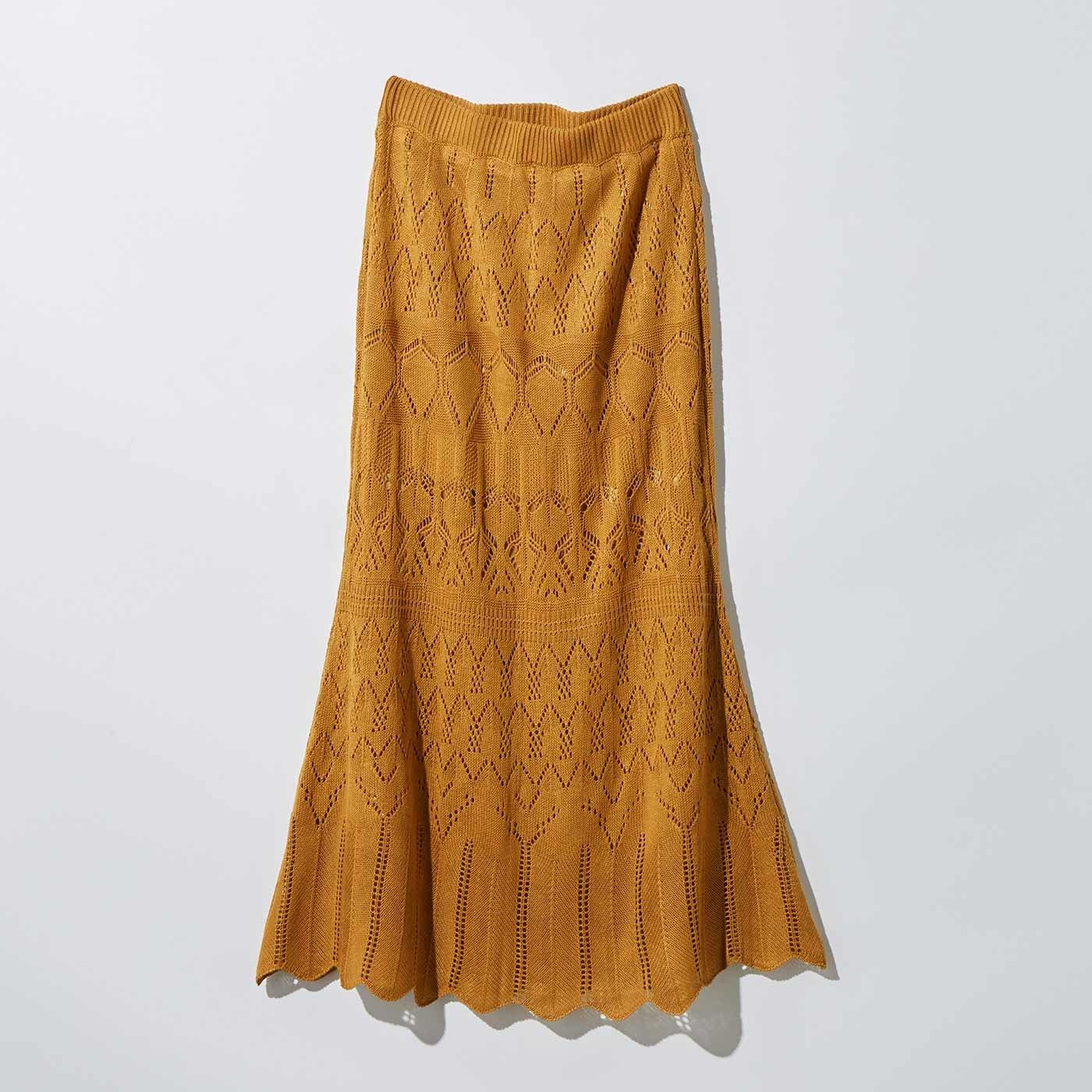 MEDE19F 透かし編みニットスカート〈キャメル〉