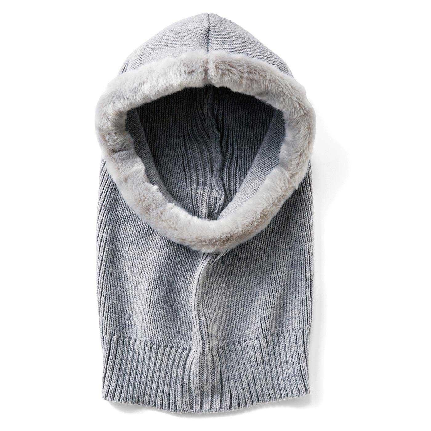 〈杢(もく)グレー〉長めのリブ編みが横にぐ~んと伸びてからだにフィット。