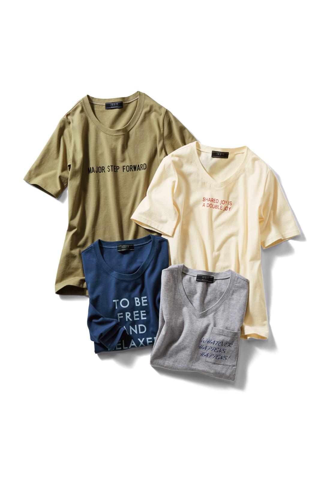 IEDIT 定番にしたいこなれロゴプリントコットンTシャツの会