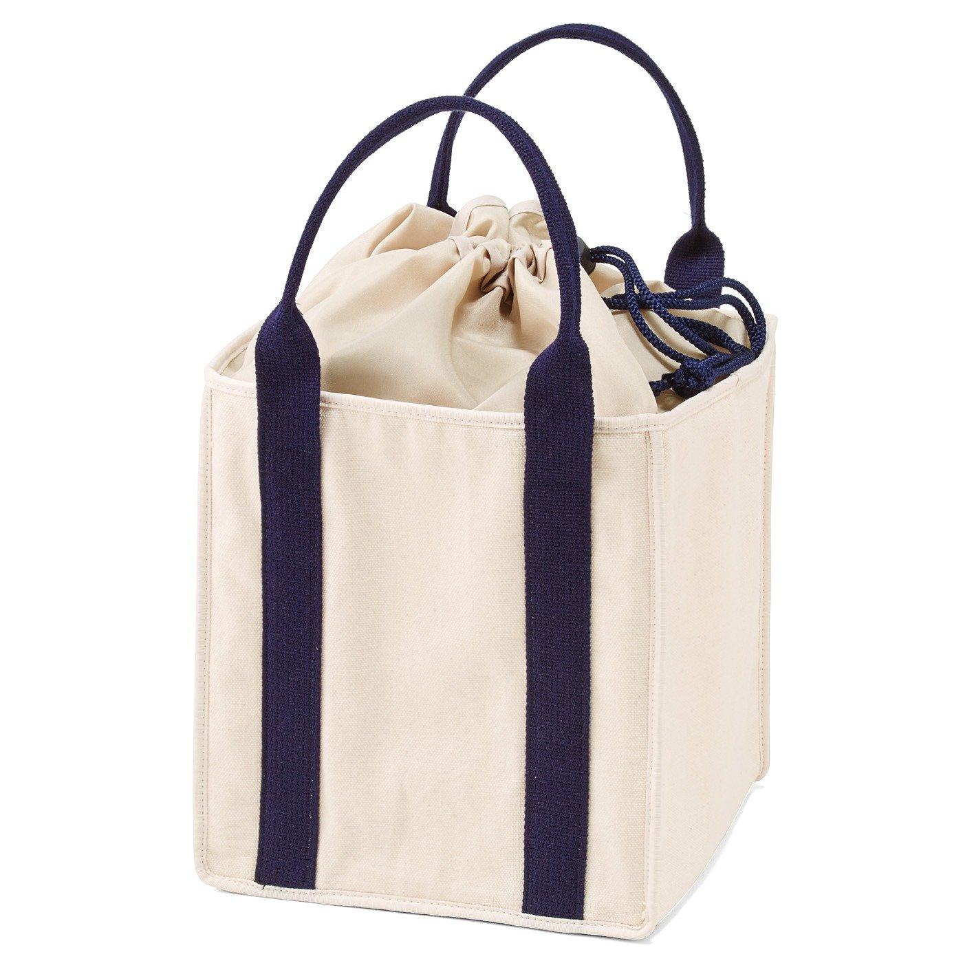 キャンバス素材のランチトートバッグ〈ラージサイズ〉