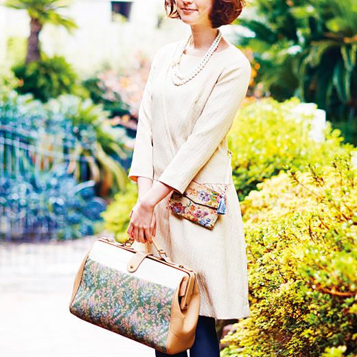 花咲く庭のオリジナルゴブラン織り ドクターバッグをお手本にした レディーな小旅行バッグ-