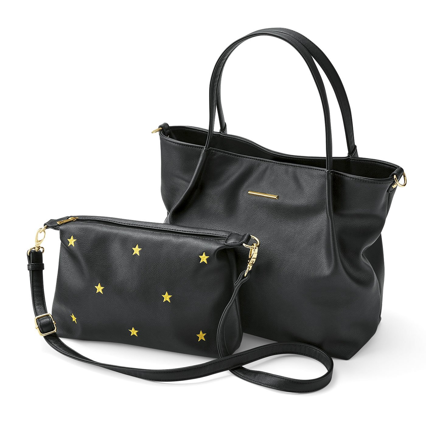 リブ イン コンフォート 使い方自在な星刺繍ポシェット付きトートバッグ〈ブラック〉