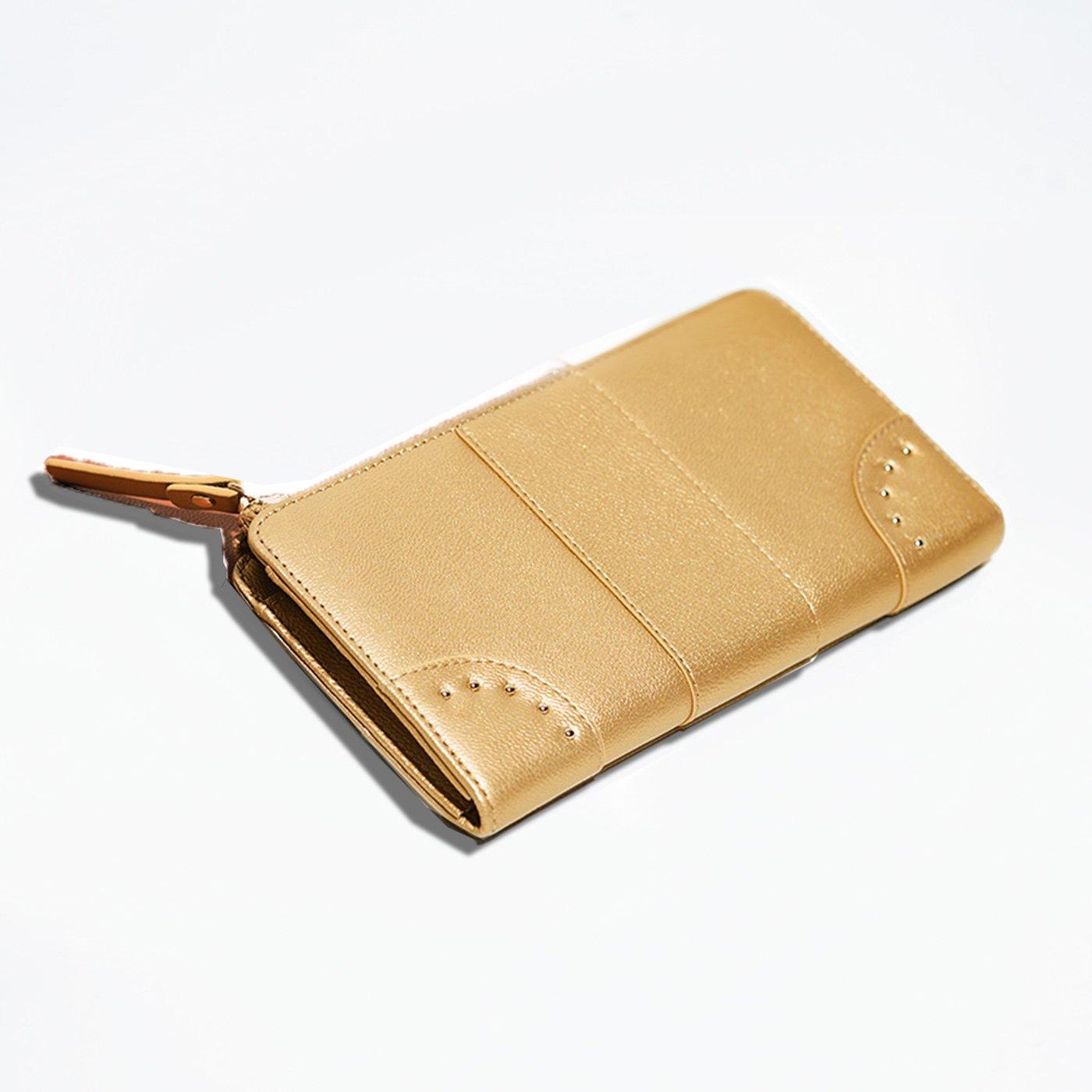 IEDIT[イディット]  ファスナー開きがワンアクションで使いやすい すっきり大人本革財布〈ゴールド〉