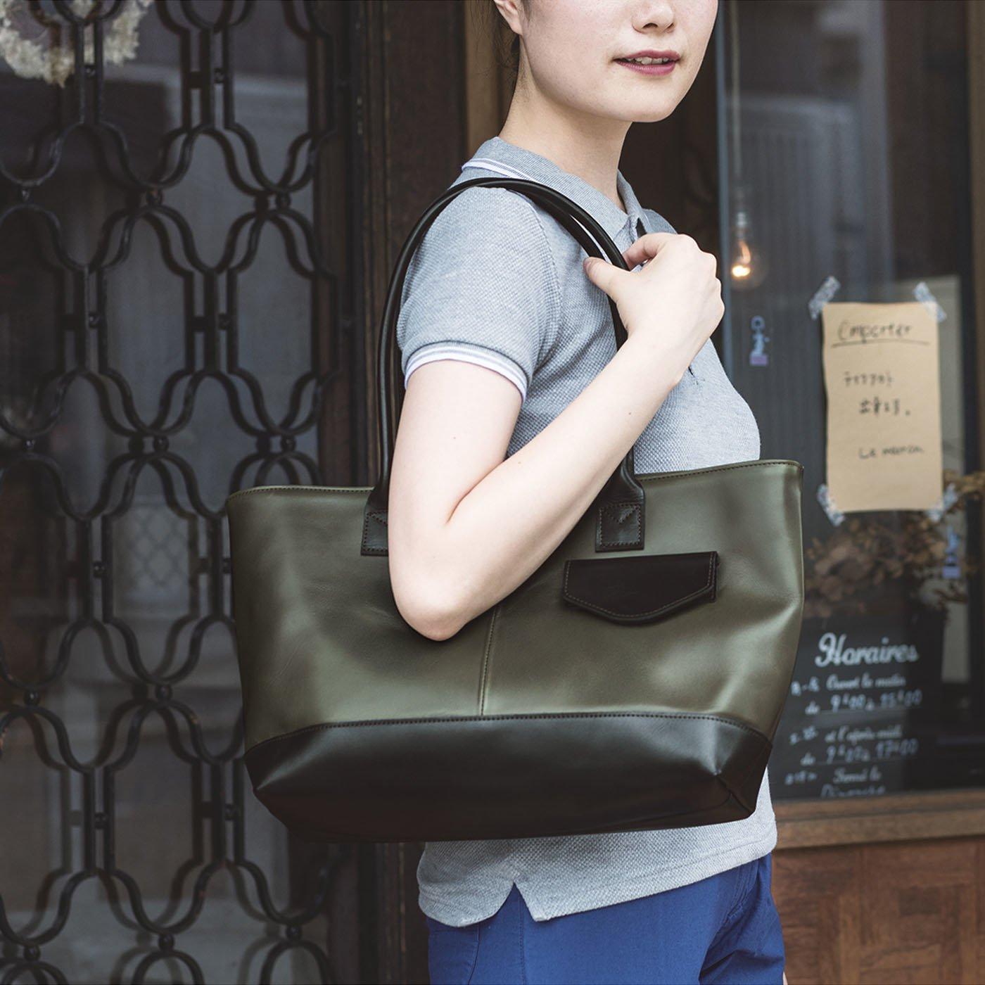 目隠しフラップがうれしい オールレザートートバッグ (フォレストグリーン×ブラック)[本革 バッグ:日本製]