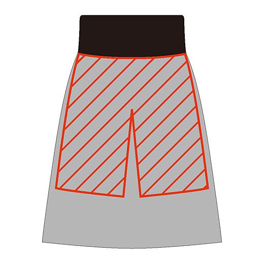 ウエスト部分でインナーパンツを縫い付けた一体型。インナーパンツはさらにタイツなどにも重ねられるように、やや足口にゆとりを持った設計に。