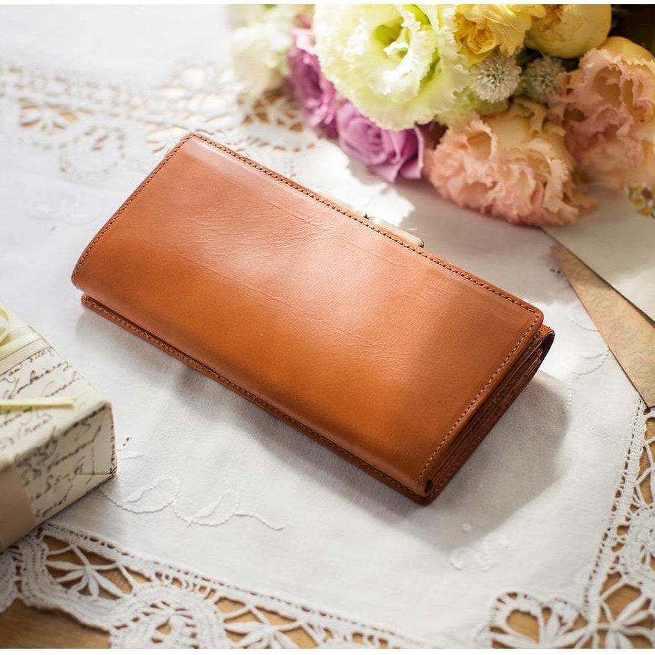 職人が誂(あつら)えた上質本革がま口付き長財布〈アールグレイブラウン〉[本革 財布:日本製]