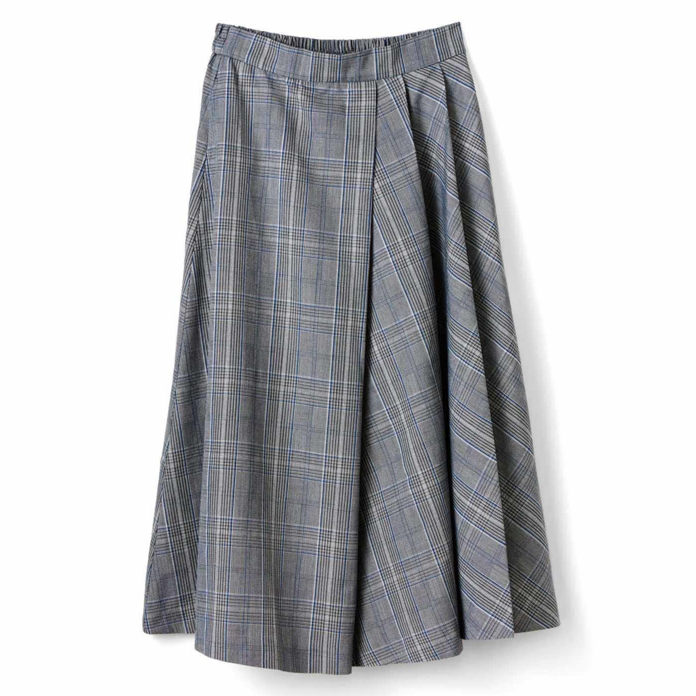 IEDIT[イディット] タックフレアーでチェックが美しく揺れ動く大人の着映えスカート〈グレー〉