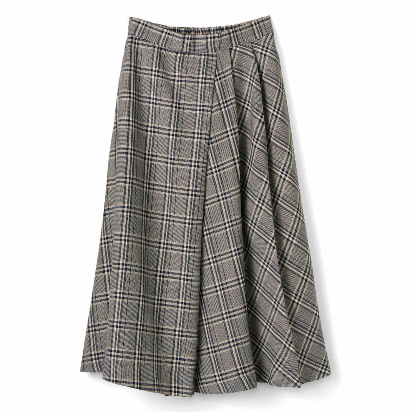 IEDIT[イディット] タックフレアーでチェックが美しく揺れ動く大人の着映えスカート〈ブラウン〉