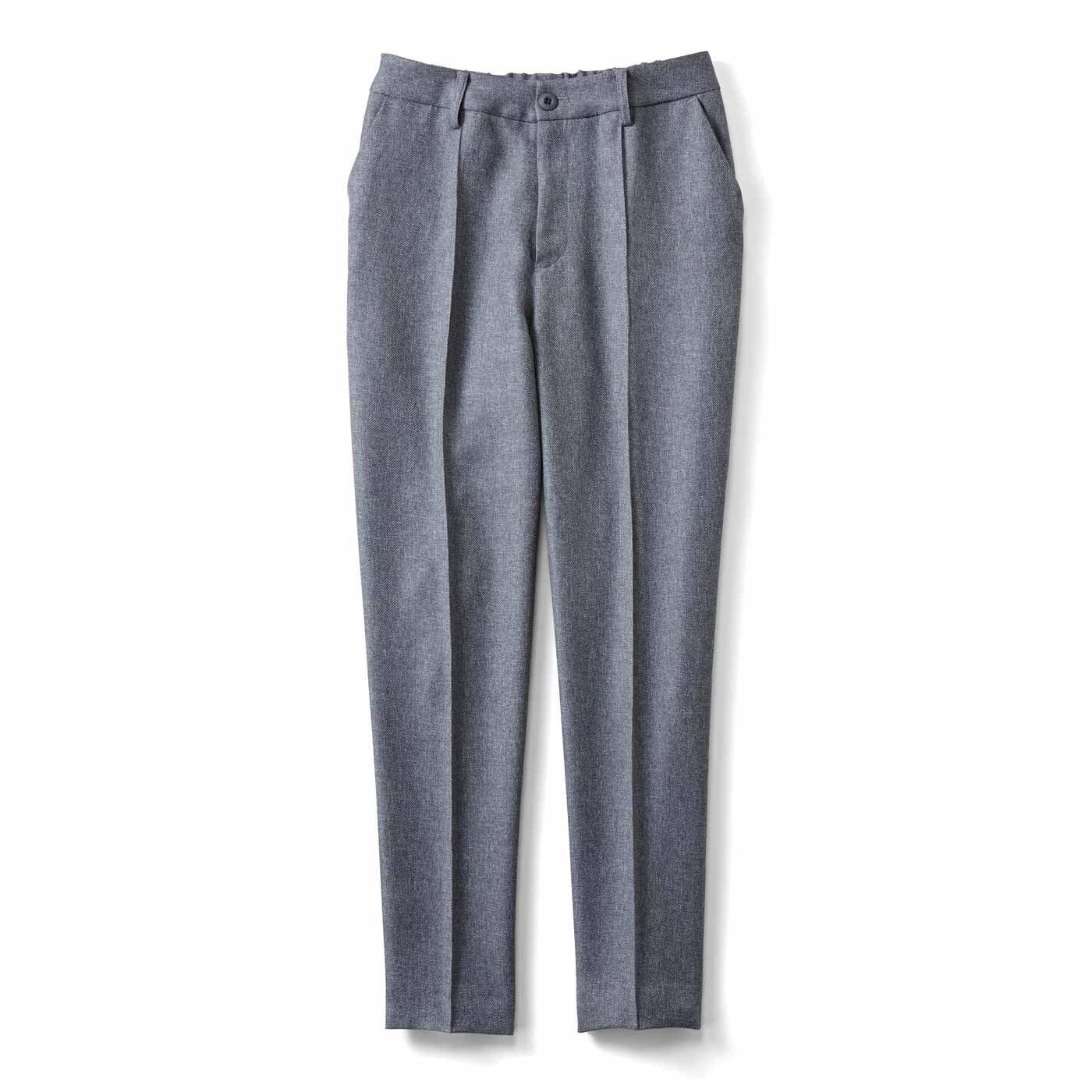 IEDIT[イディット] ウールライク素材で快適なはき心地 センターステッチでスッキリ見え美脚パンツ〈グレー〉
