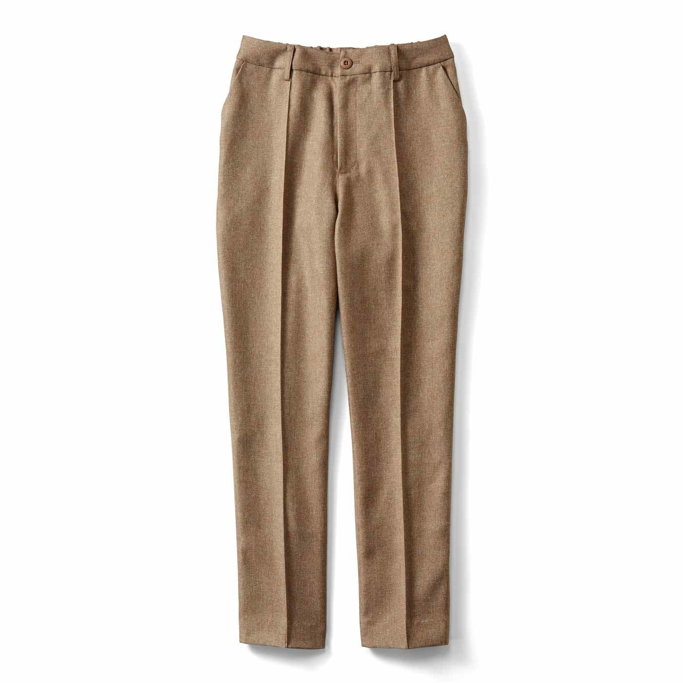 IEDIT[イディット] ウールライク素材で快適なはき心地 センターステッチでスッキリ見え美脚パンツ〈ベージュ〉