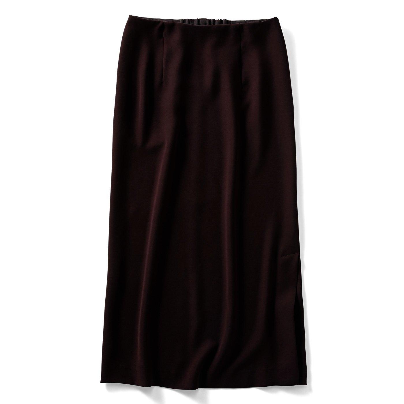 IEDIT[イディット] 小森美穂子さんコラボ どんなコーデにも大活躍のダブルクロスIラインスカート〈ブラウン〉