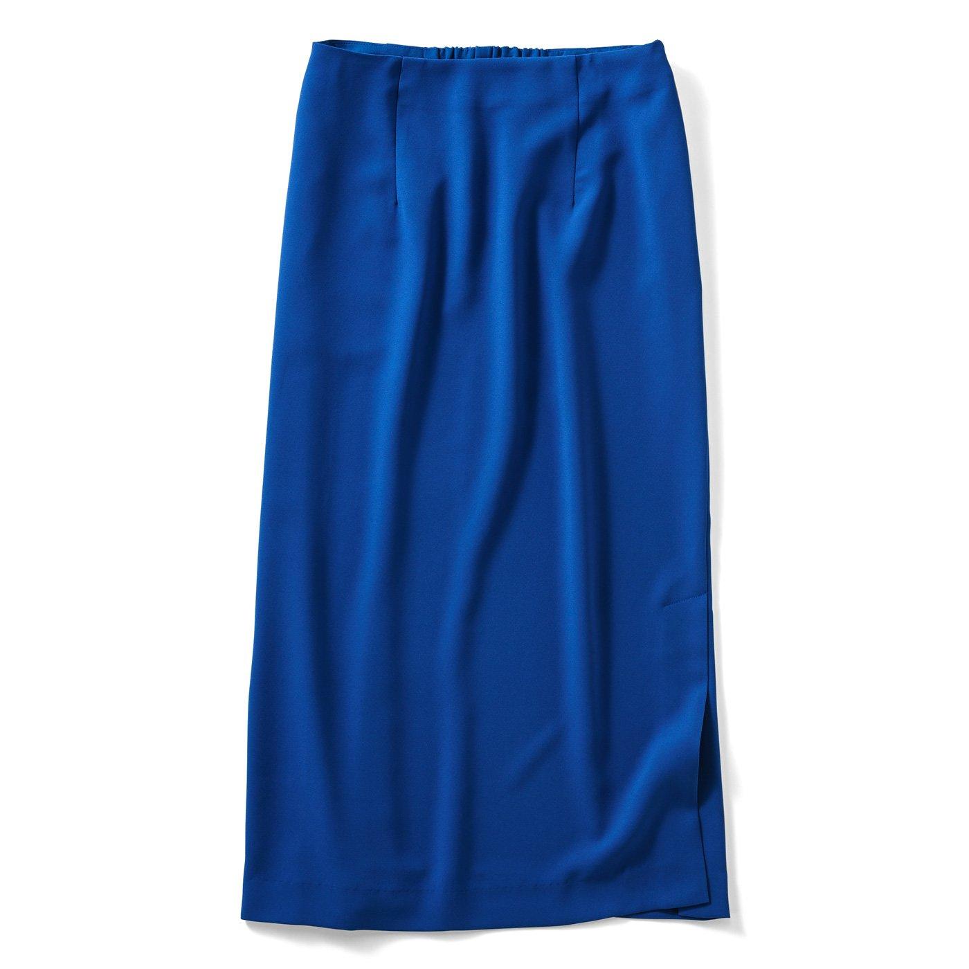 IEDIT[イディット] 小森美穂子さんコラボ どんなコーデにも大活躍のダブルクロスIラインスカート〈ブルー〉