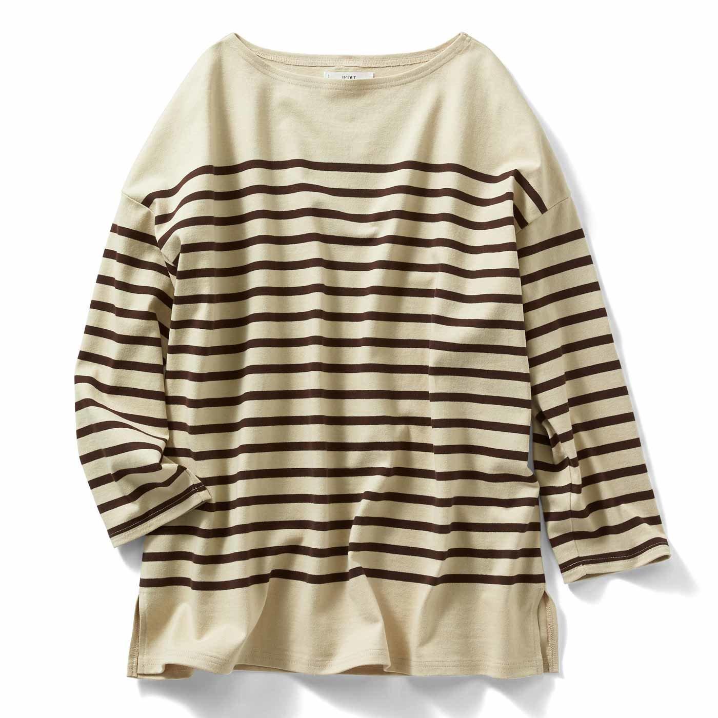 IEDIT[イディット] 小森美穂子さんコラボ こだわりバスク風ボーダーTシャツ〈ブラウン〉