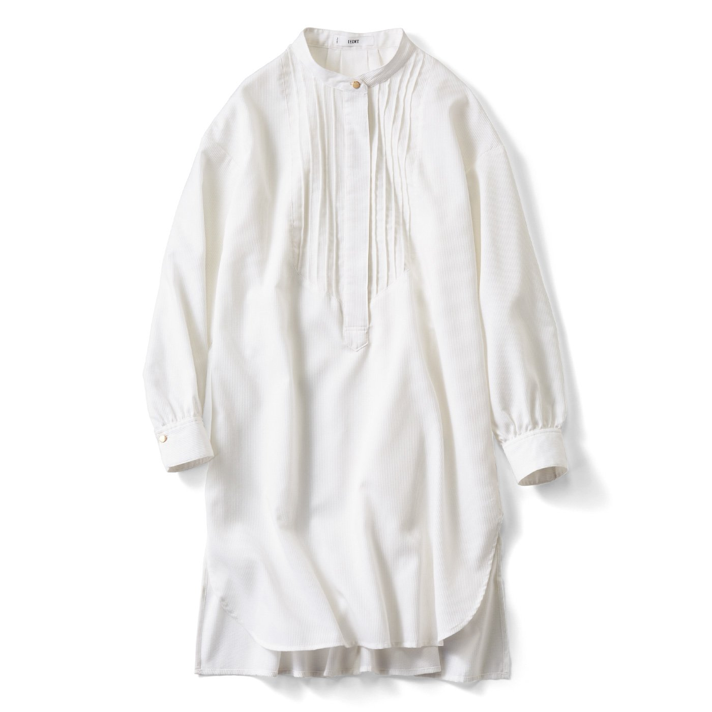 IEDIT[イディット] 撥水加工がうれしい すっきり見えバンドカラーのシャツチュニック〈ホワイト〉