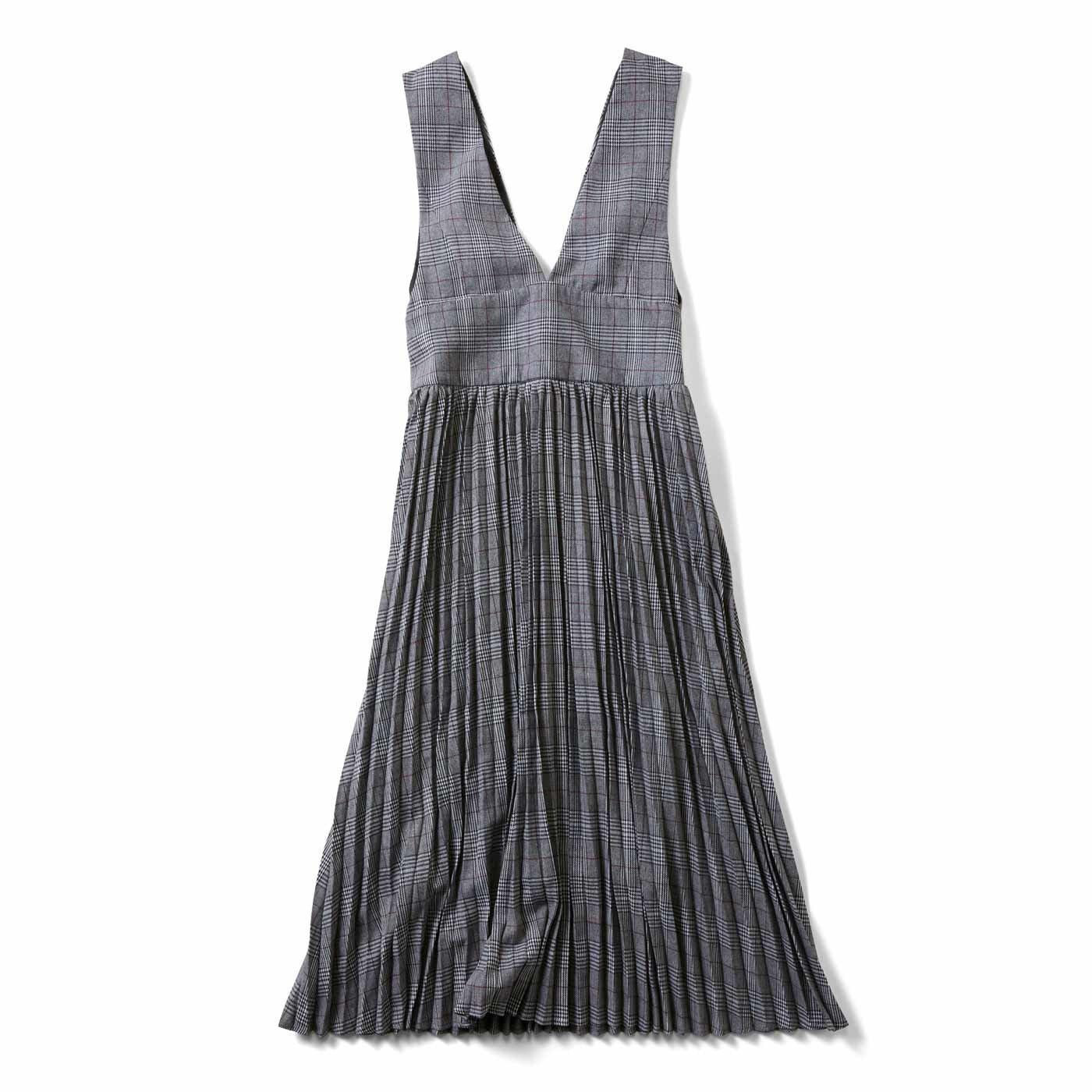 IEDIT[イディット] 深Vネックですっきり着こなせる グレンチェックジャンパースカート〈ブラック〉