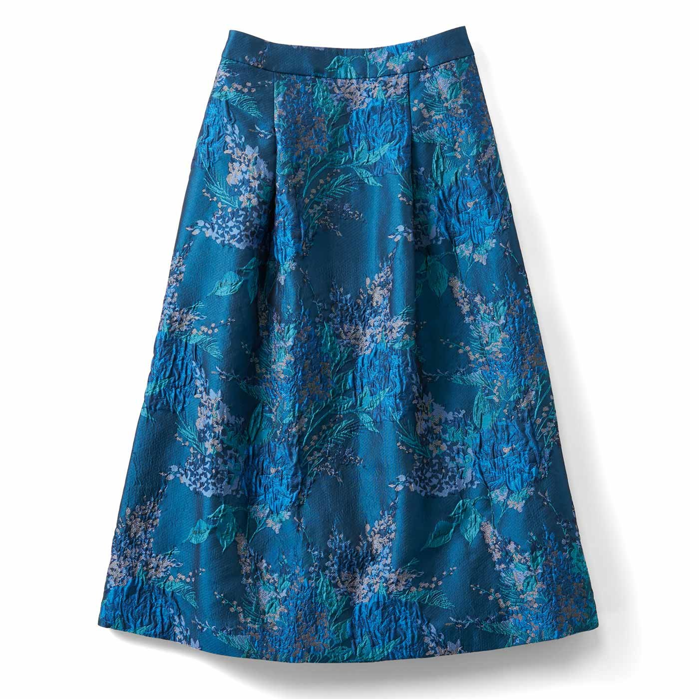 IEDIT[イディット] 一点投入で着映えする ミドル丈ジャカードスカート〈ブルー〉
