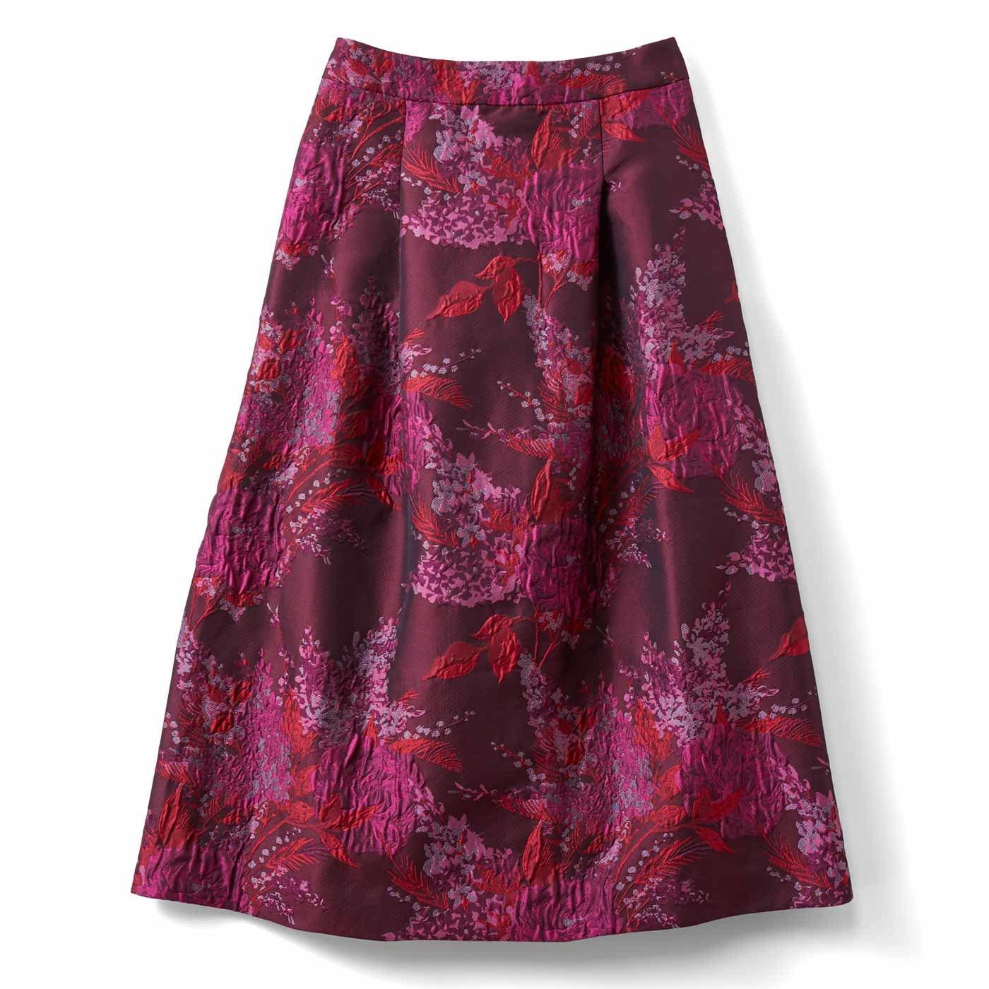 IEDIT[イディット] 一点投入で着映えする ミドル丈ジャカードスカート〈ピンク〉