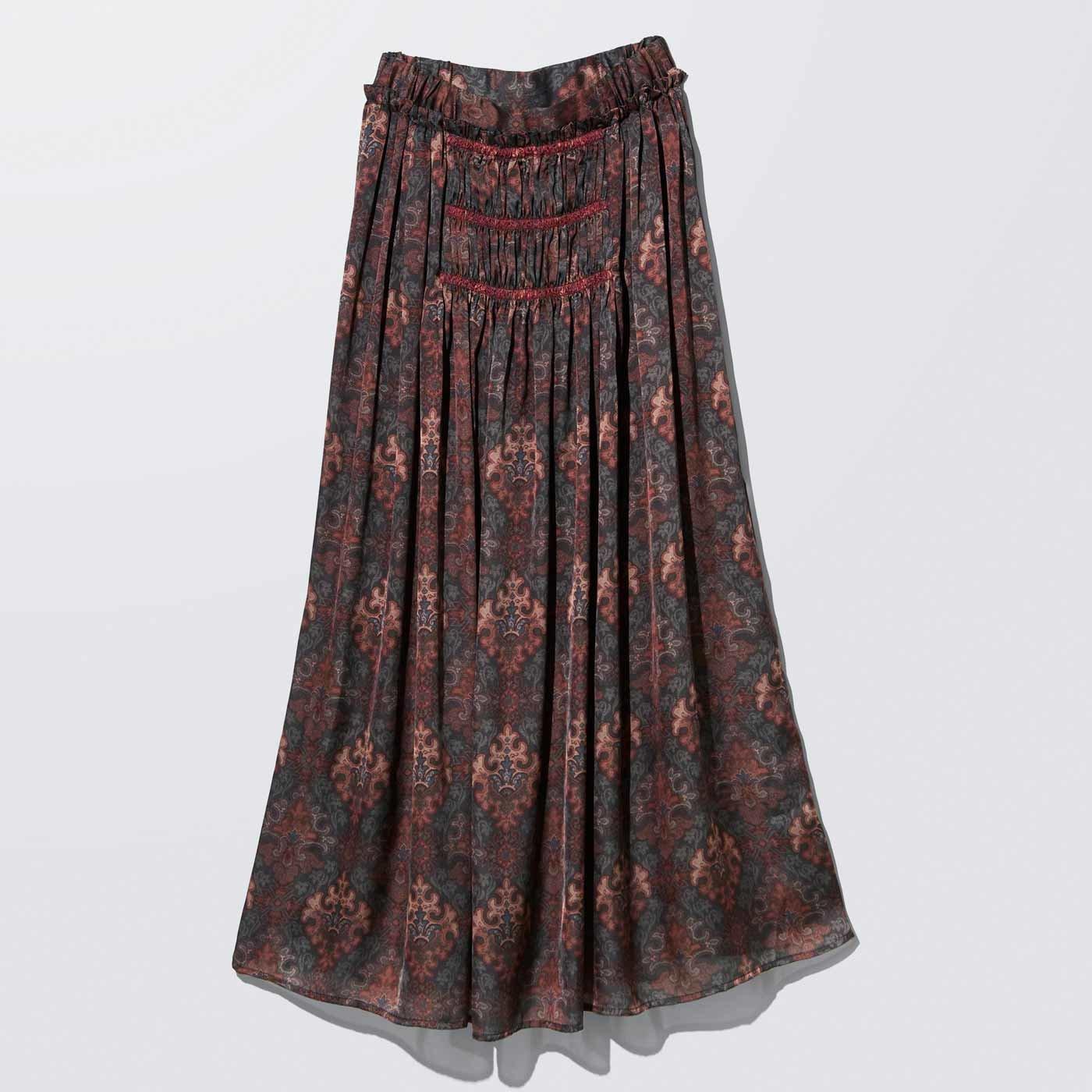 MEDE19F ミュルーズモダン〈「ミュルーズ染織美術館」アーカイブコレクション〉ヴィンテージパターンプリントロングスカート〈フォレストグリーン〉
