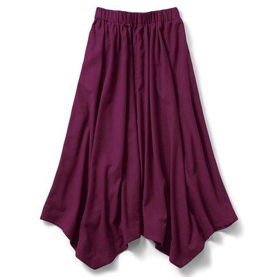IEDIT[イディット] リネン混のイレギュラーヘムロングスカート〈パープル〉【送料無料】