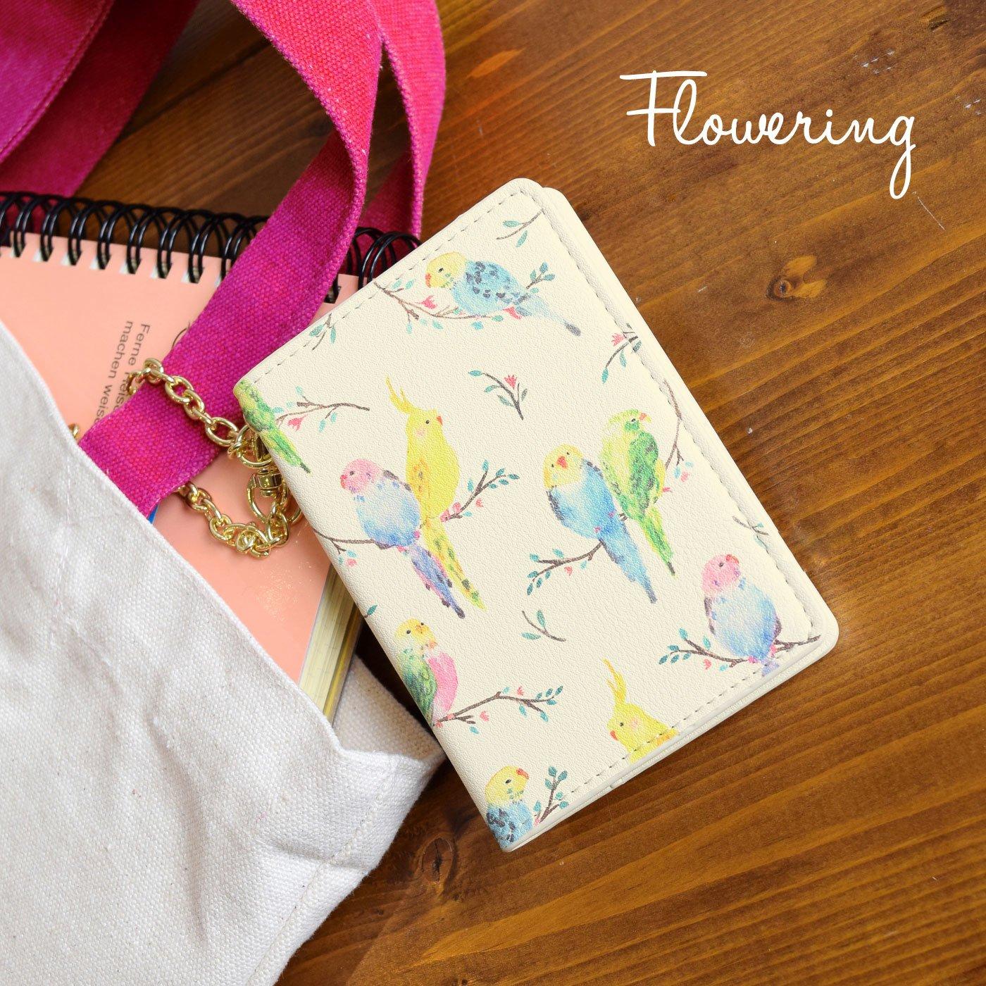バッグの中で迷子にならない 幸運の森の小鳥☆ミラー付きパスケース