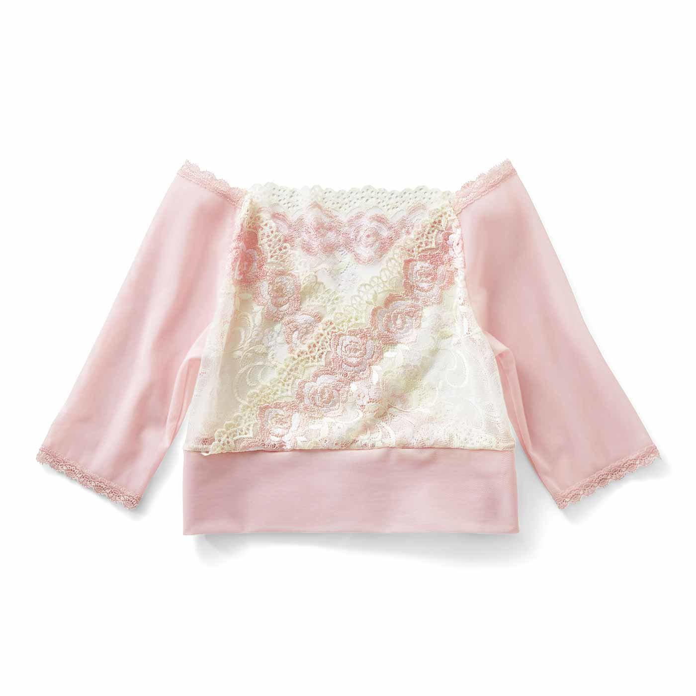振り袖ぷよ肉シェイプ レーシーショートトップス〈ピンク×ホワイト〉
