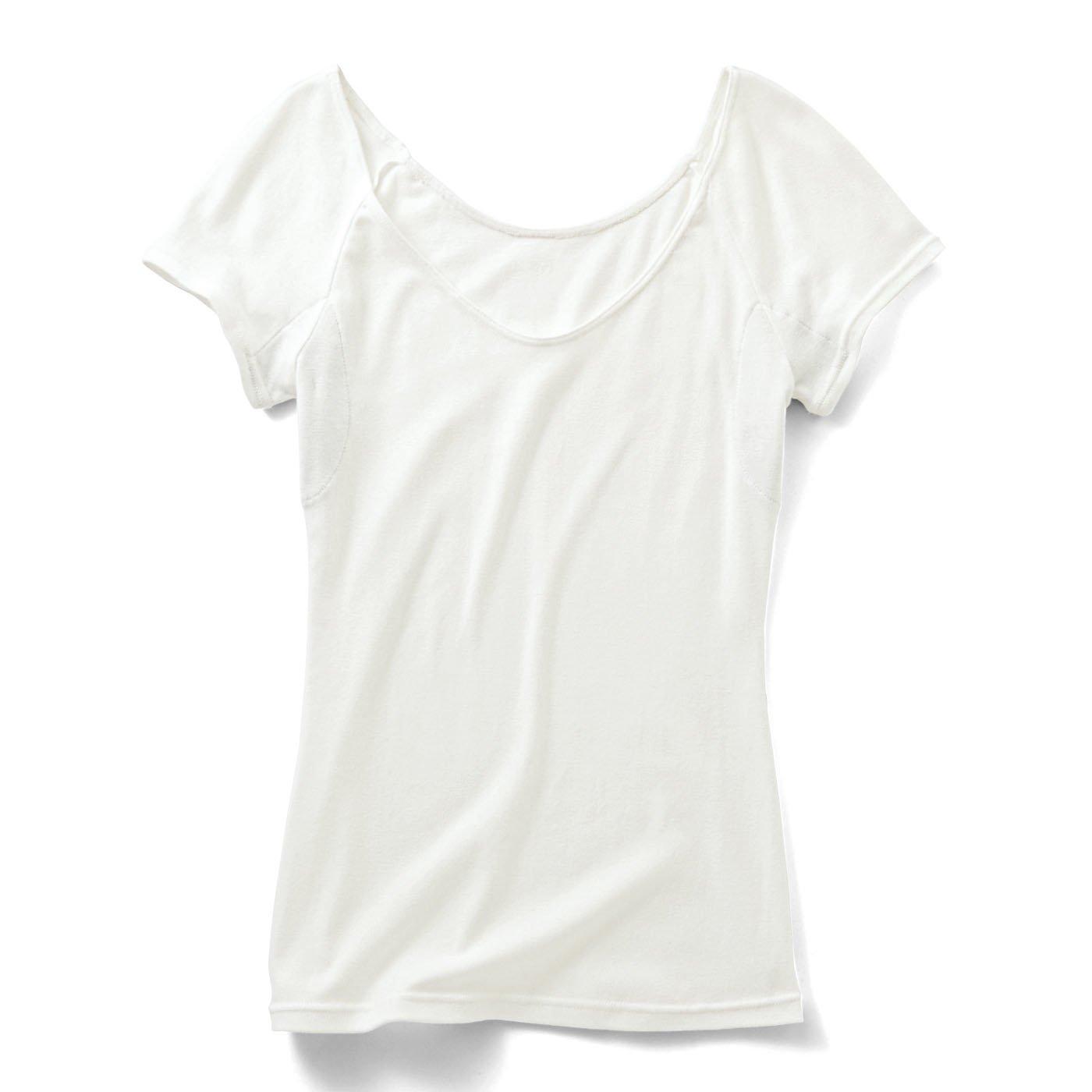 綿100%わき汗パッド付き 衿ぐり広めインナー〈ホワイト〉