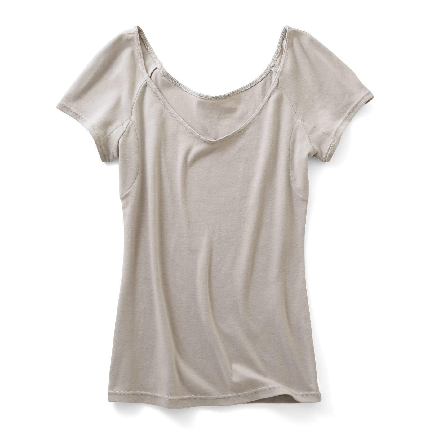綿100%わき汗パッド付き 衿ぐり広めインナー〈グレー〉
