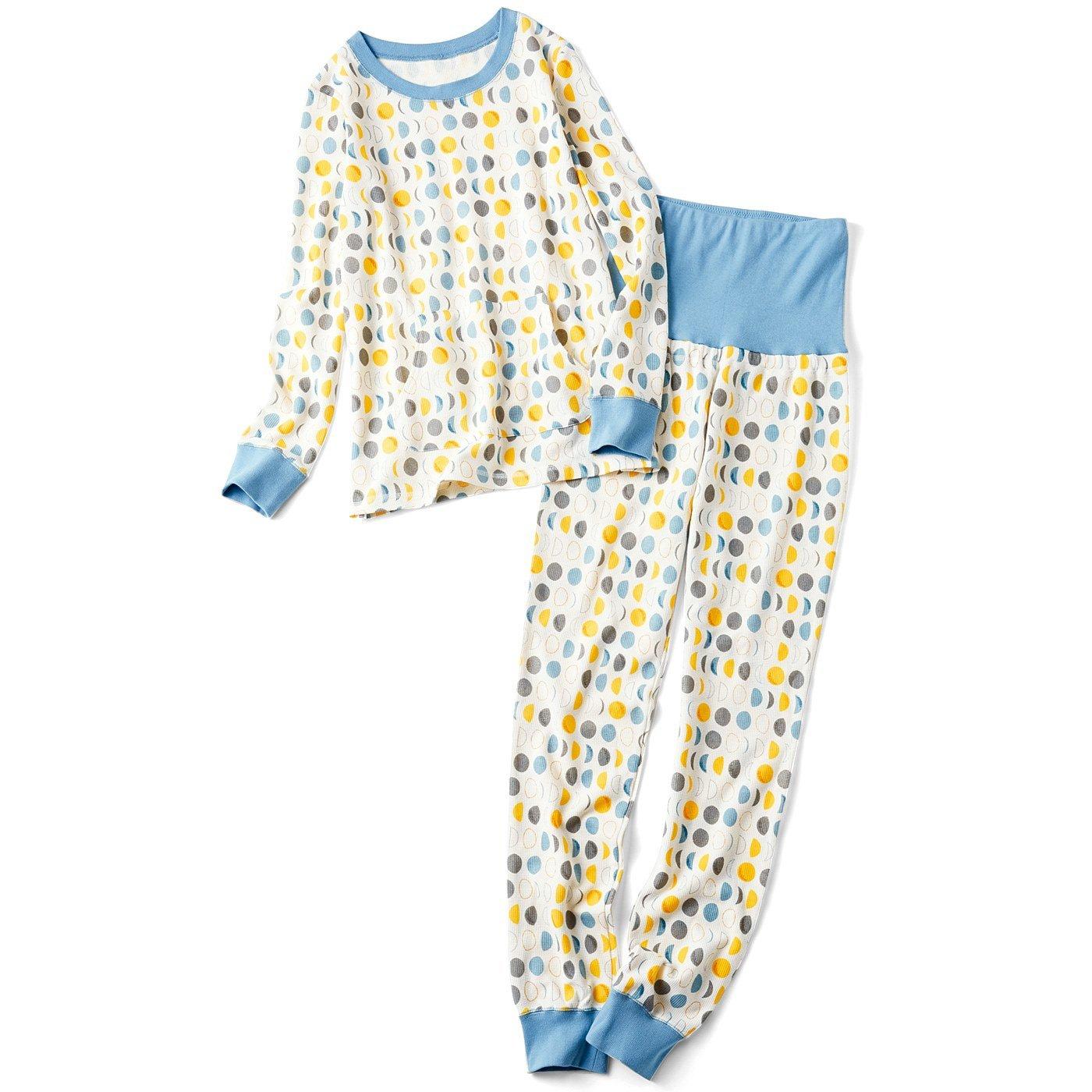 リブ イン コンフォート 着心地やわらか お月さま柄のワッフルパジャマ〈みちかけ〉