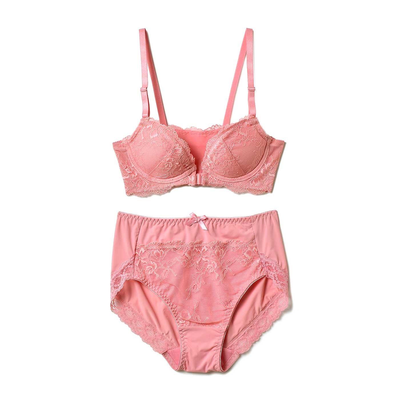 小さい胸さんの わきぷよ段差がきれいに解消 背中すっきり 美人印象ブラ&ショーツ〈オレンジ〉