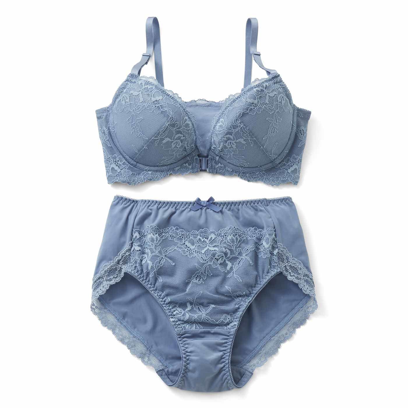 小さい胸さんの わきぷよ段差がきれいに解消 背中すっきり 美人印象ブラ&ショーツ〈サックスブルー〉