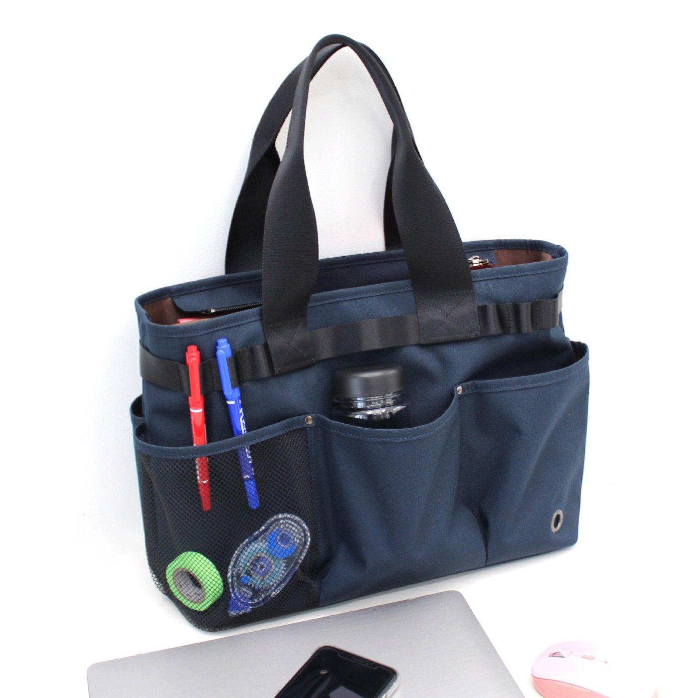 【WEB限定】IEDIT[イディット] ポケットいっぱいで収納上手! ノートパソコンが入ってお仕事道具の持ち運びに便利なテレワークバッグ〈ネイビー〉