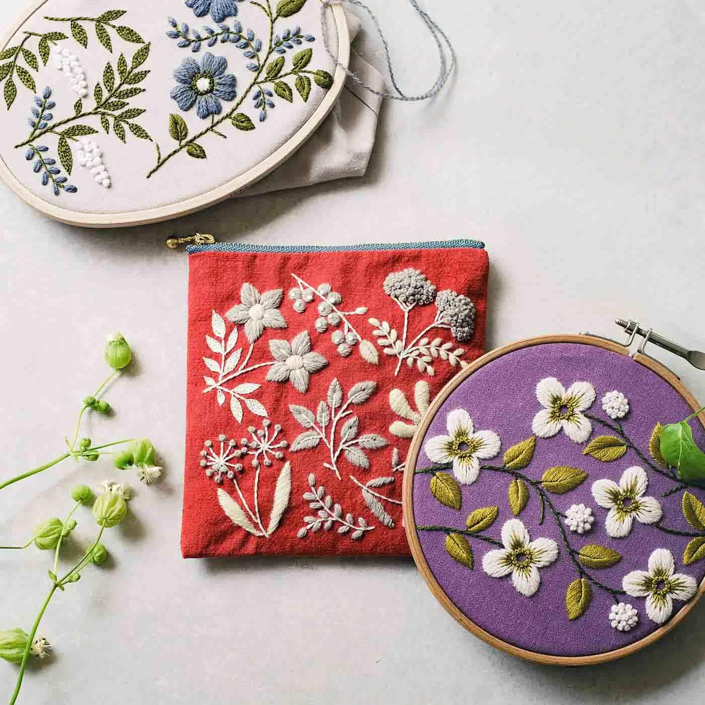 ガーデンを彩る花々 心ときめくウール刺しゅうのポーチの会