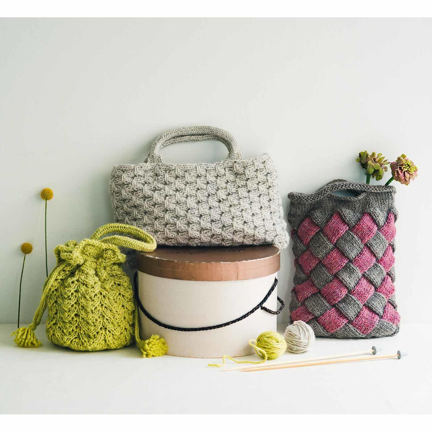 毛糸で編んで謎解き気分 手ごたえ棒針編みバッグの会