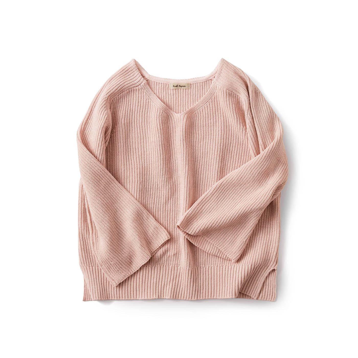 and myera 畦編みのざっくりセーター〈ピンク〉