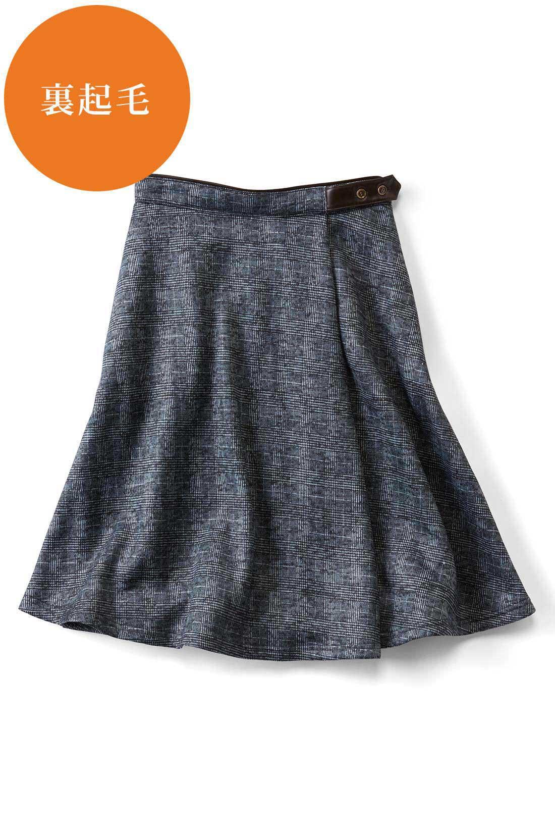 きちんと感高まる〈ダークグレイグレンチェック〉 ウエストはパイピング&飾りベルト仕様 ウエスト部分は合皮パイピングのアクセント。女っぽくトップスインするスタイルも決まるうれしいディテール。 右サイドには便利なポケット。