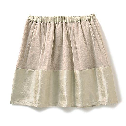 エムトロワ ヒョウ柄にベールをかけたふんわりスカート(シャンパンゴールド)