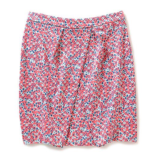 NUSY ウシロマエ着られるツーウェイタックススカート(レッド×ネイビー)