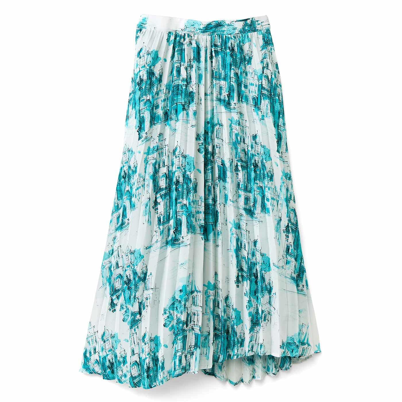 IEDIT[イディット] ヴィンテージライクな趣のプリントプリーツスカート〈グリーン〉