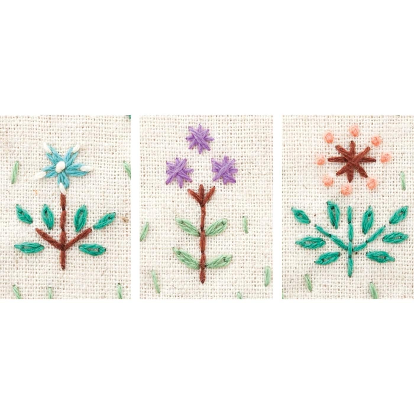 2ヵ月目[簡単なステッチで多彩な表現] ダブルクロスステッチやレゼーテージステッチなど、お花だけでも多彩な表現方法が。使えるステッチの種類を増やしていきましょう。