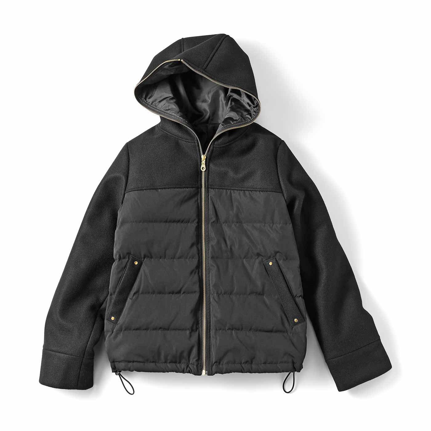 IEDIT[イディット] メルトン風素材切り替えのショート丈ダウンコート〈ブラック〉