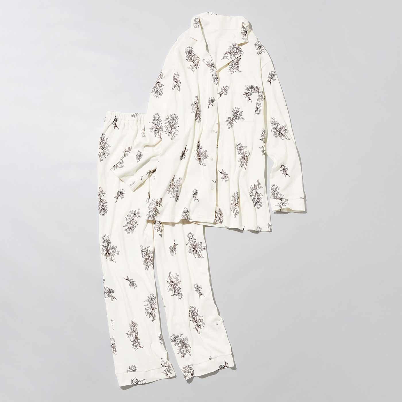 MEDE19F アヤメ柄プリントカットソーパジャマ〈ホワイト〉